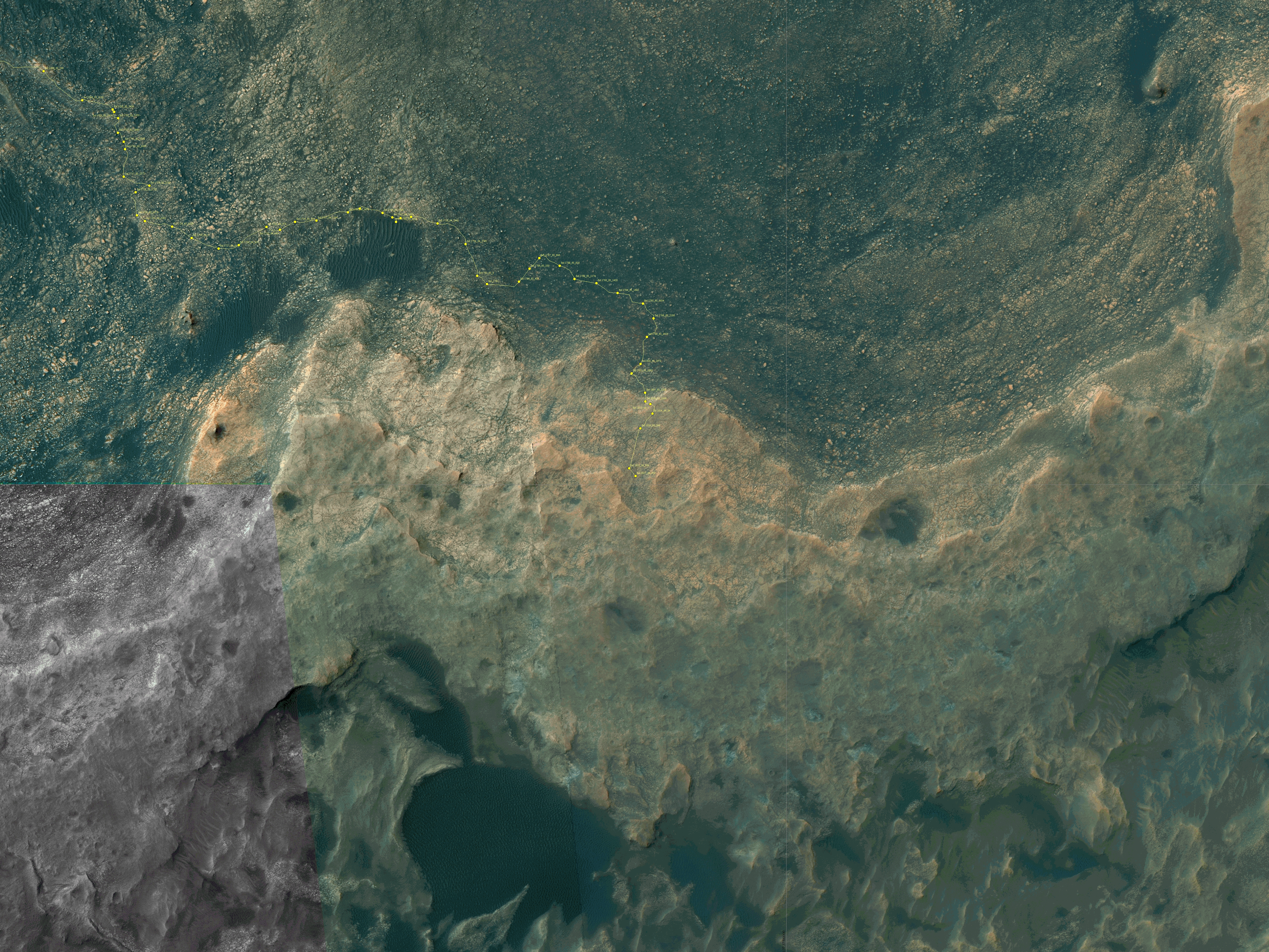 Curiosity Rover's Location for Sol 1827