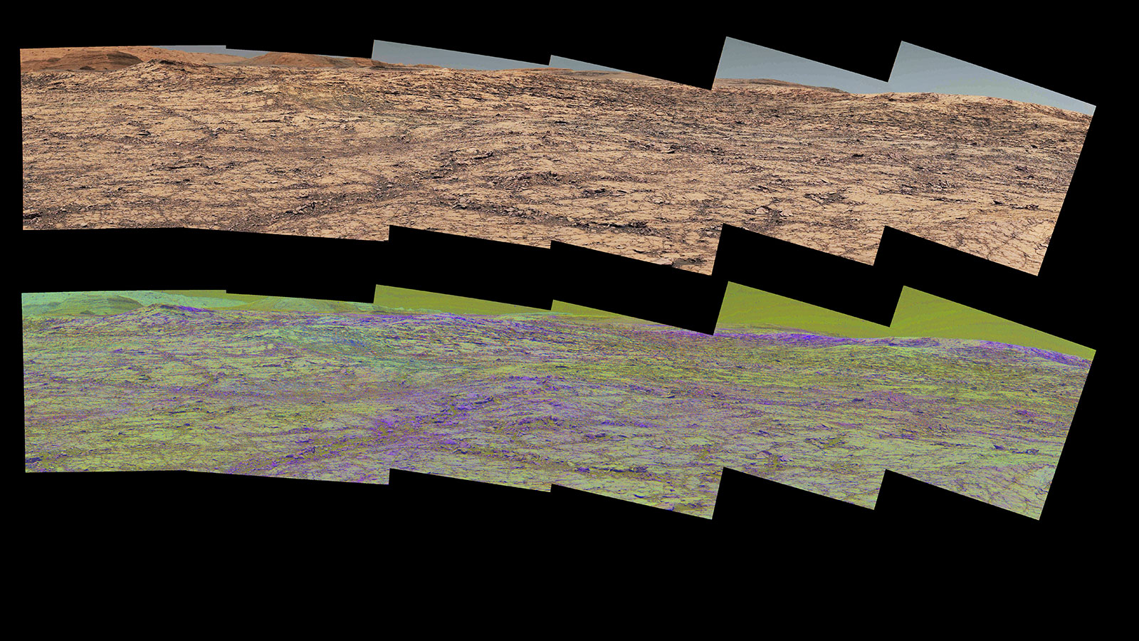 This pair of images from the Mast Camera (Mastcam) on NASA's Curiosity rover illustrates how special filters are used to scout terrain ahead for variations in the local bedrock.