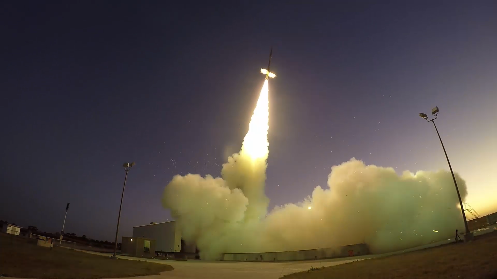 A 58-foot-tall Black Brant IX sounding rocket launches from NASA's Wallops Flight Facility on Oct. 4. This was the first test of the Mars 2020 mission's parachute-testing series, the Advanced Supersonic Parachute Inflation Research Experiment, or ASPIRE.