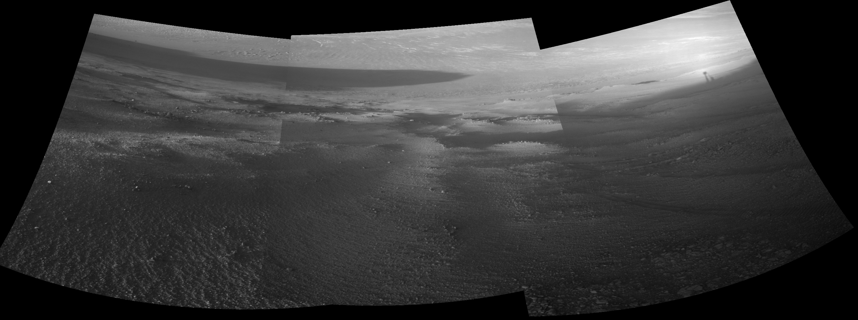 Opportunity's View Downhill Catches Martian Shadows