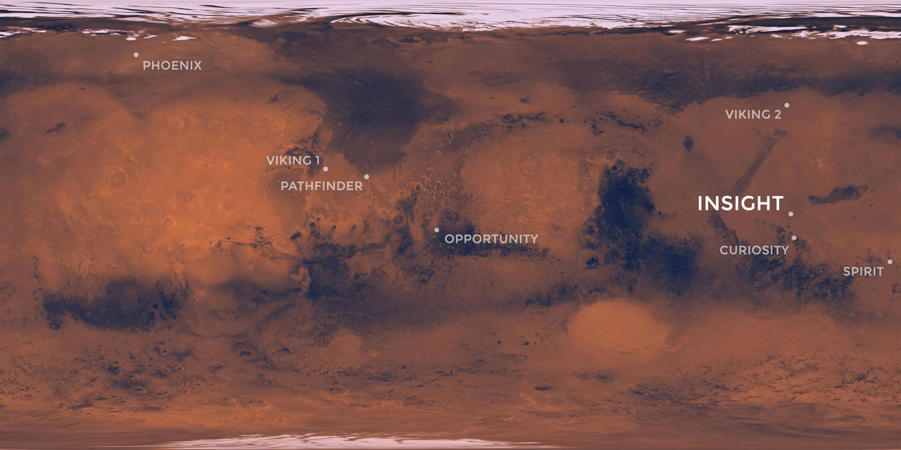 Elysium Planitia, a flat-smooth plain just north of the equator makes for the perfect location from which to study the deep Martian interior.