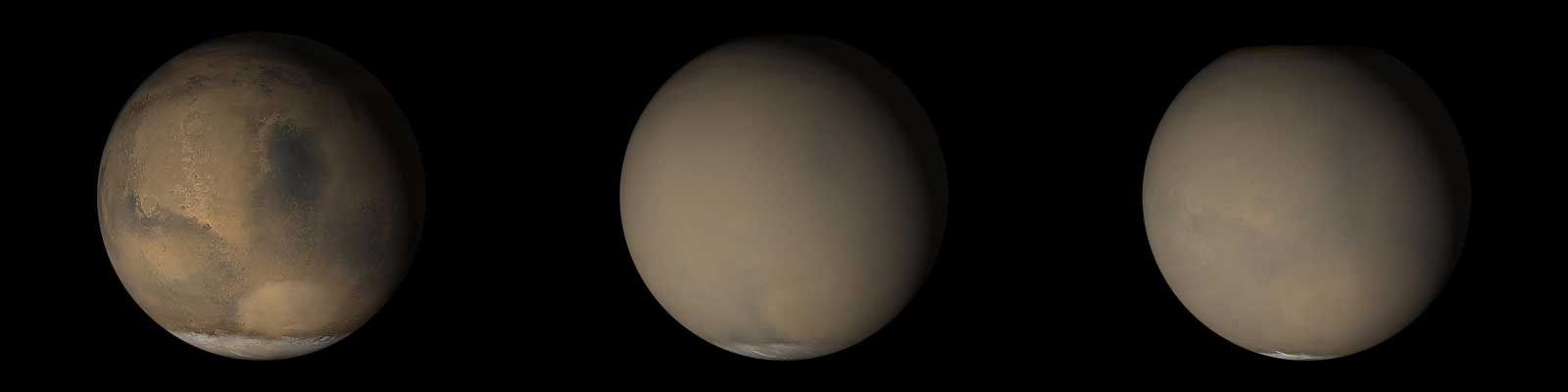 two global mars views, one clear one hazy