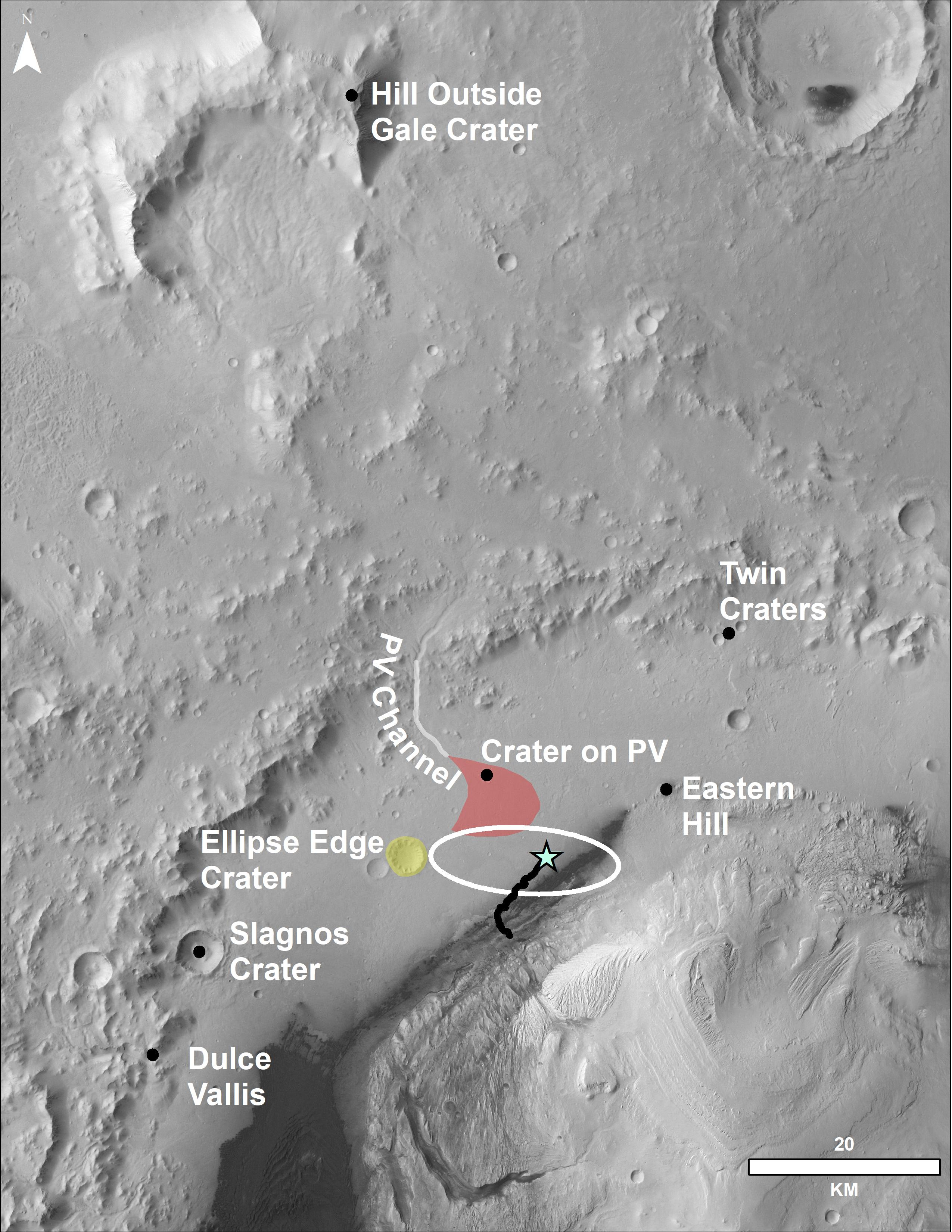 This image of the northwestern portion of Mars' Gale Crater and terrain north of it, from the European Space Agency's Mars Express orbiter, provides a locator map for some features visible in an October 2017 panorama from NASA's Curiosity Mars rover.