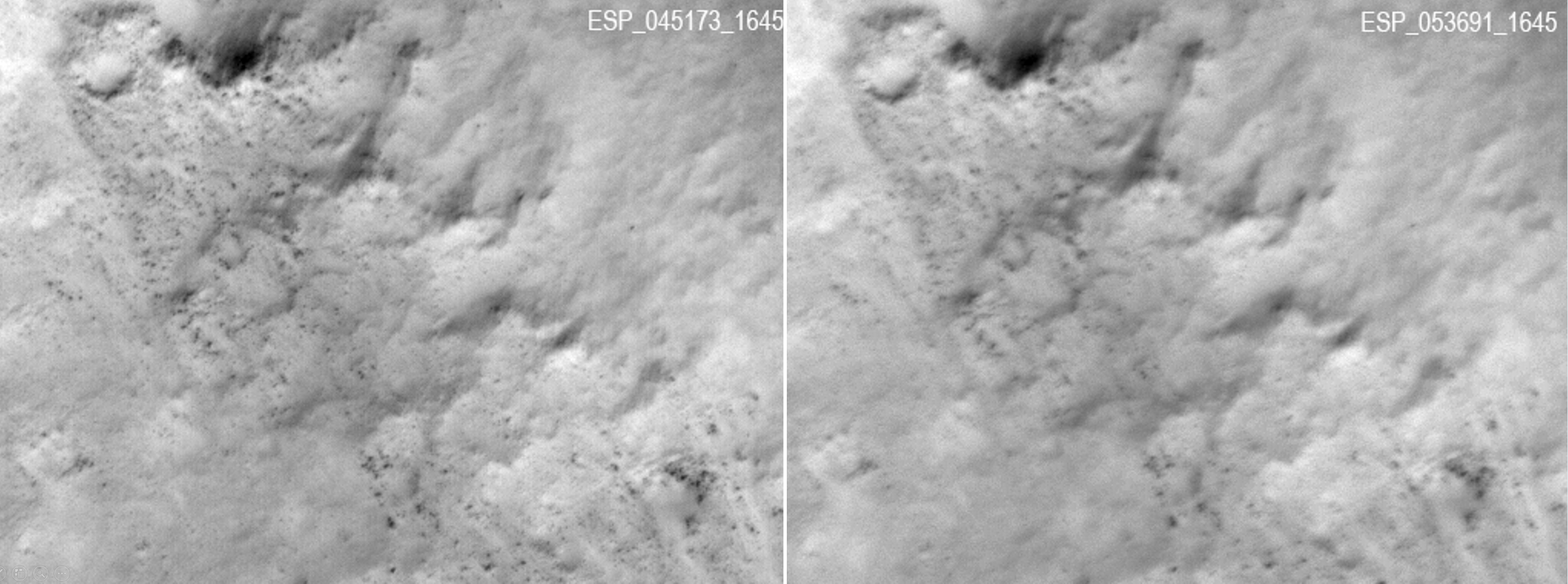 two side-by-side images of martian landscape from above, one blurry