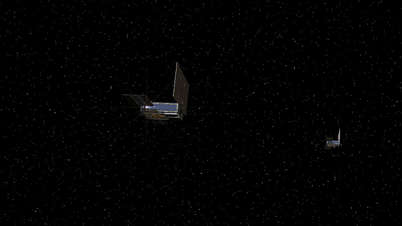 An artist's rendering of the twin Mars Cube One (MarCO) spacecraft on their cruise in deep space.
