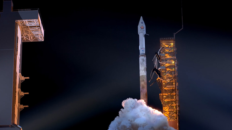 An artist's rendering of a rocket launching with the InSight spacecraft in May.