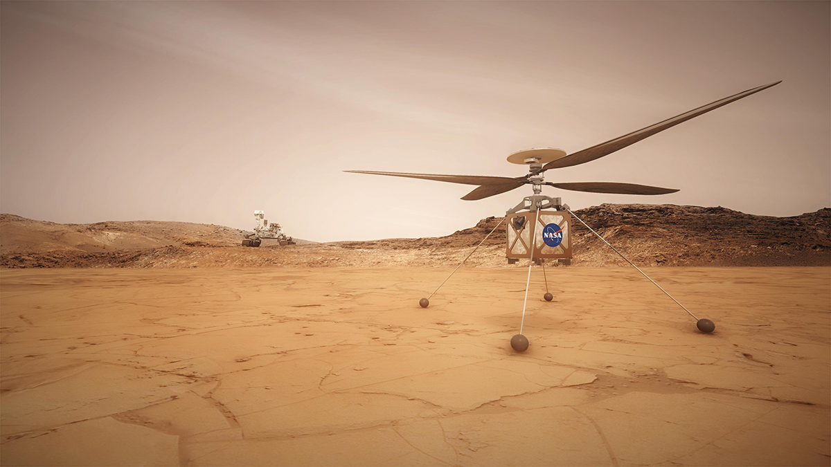 This artist concept shows the Mars Helicopter, a small, autonomous rotorcraft, which will travel with NASA's Mars 2020 rover mission.