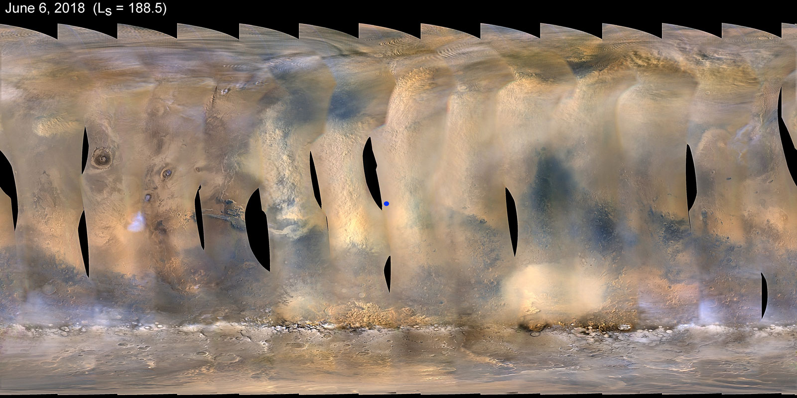 This global map of Mars shows a growing dust storm as of June 6, 2018. The map was produced by the Mars Color Imager (MARCI) camera on NASA's Mars Reconnaissance Orbiter spacecraft. The blue dot indicates the approximate location of Opportunity.