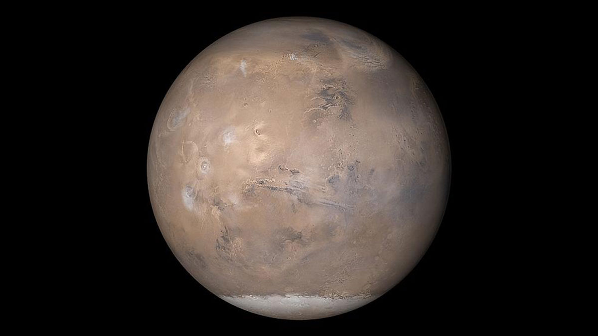 Mars, as seen by Mars Global Surveyor in 2003.