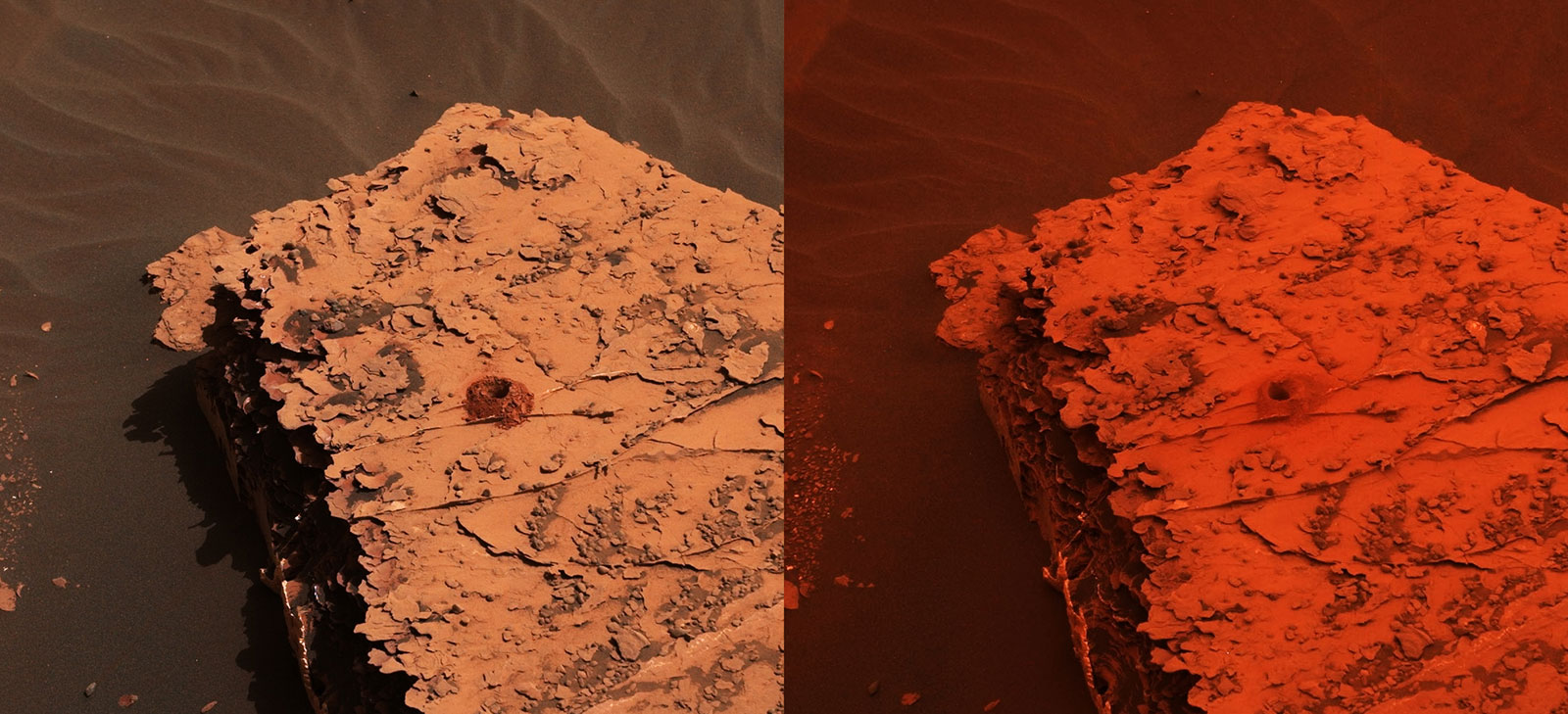 Two images from the Mast Camera (Mastcam) on NASA's Curiosity rover depicting the change in the color of light illuminating the Martian surface since a dust storm engulfed Gale Crater.