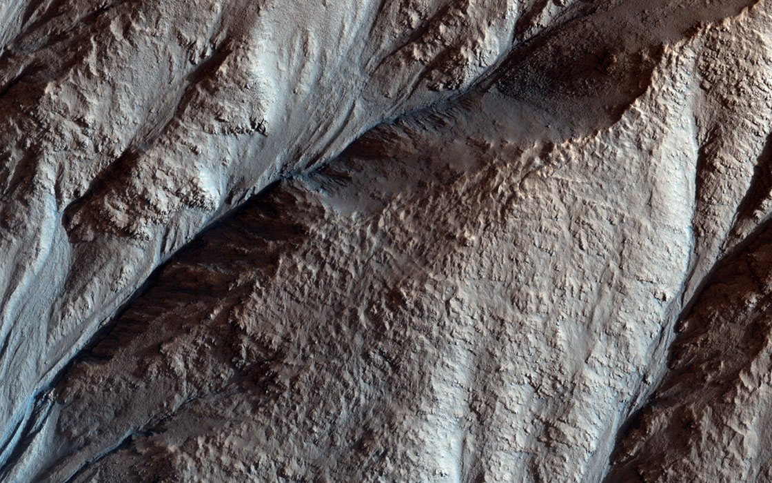 Crater Gullies and Fractures in Acidalia Planitia