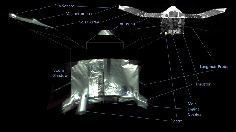 This is an annotated composite selfie of the MAVEN spacecraft.
