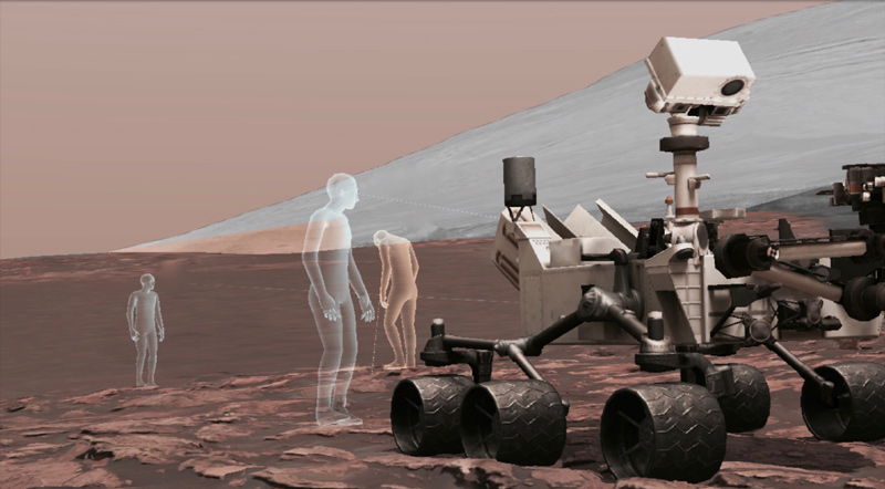 This is a screen view from OnSight, software developed by NASA's Jet Propulsion Laboratory in collaboration with Microsoft, which uses real rover data to create a 3D simulation of the Martian environment.