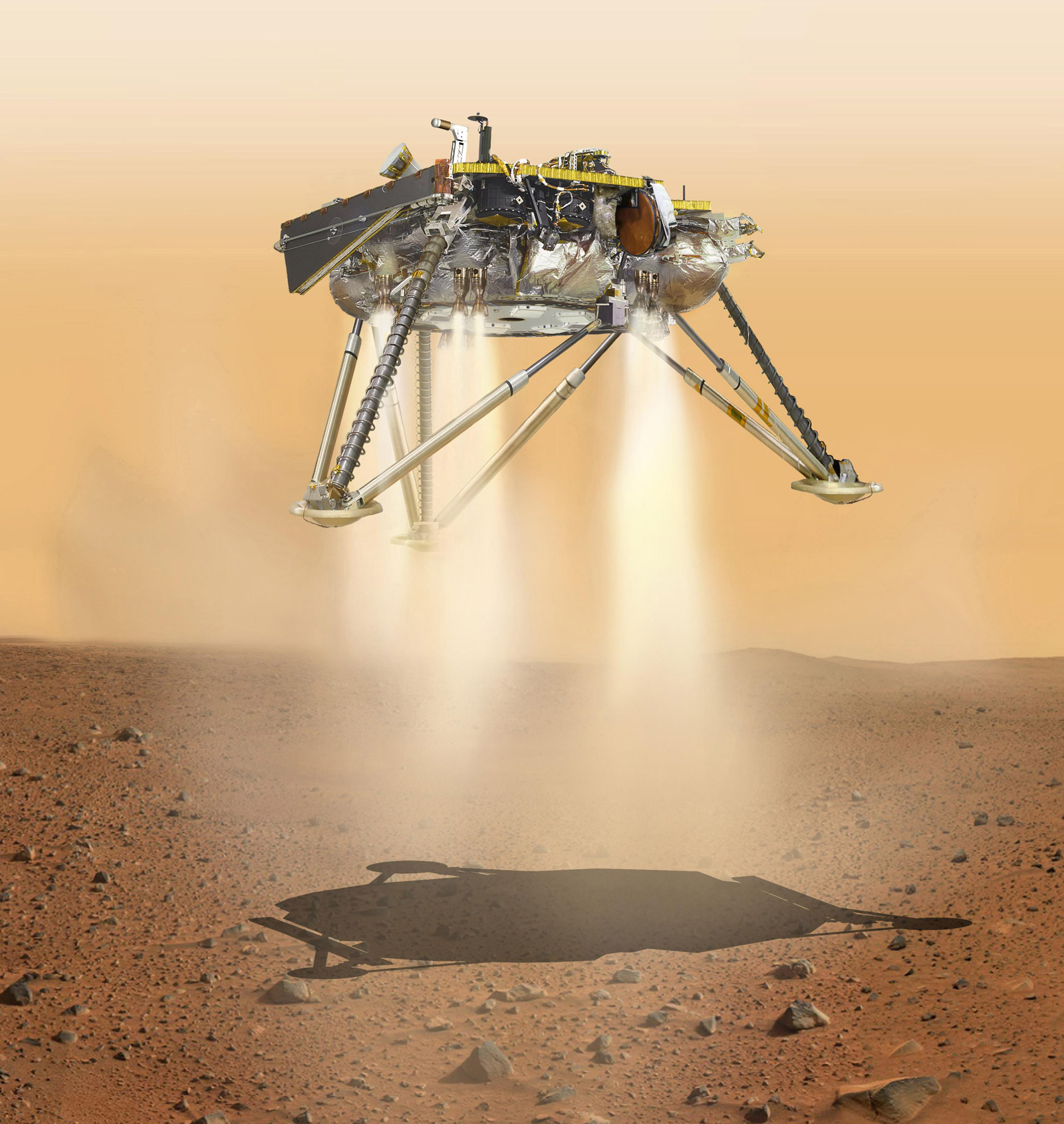 This is an illustration showing a simulated view of NASA's InSight lander about to land on the surface of Mars. This view shows the underside of the spacecraft.