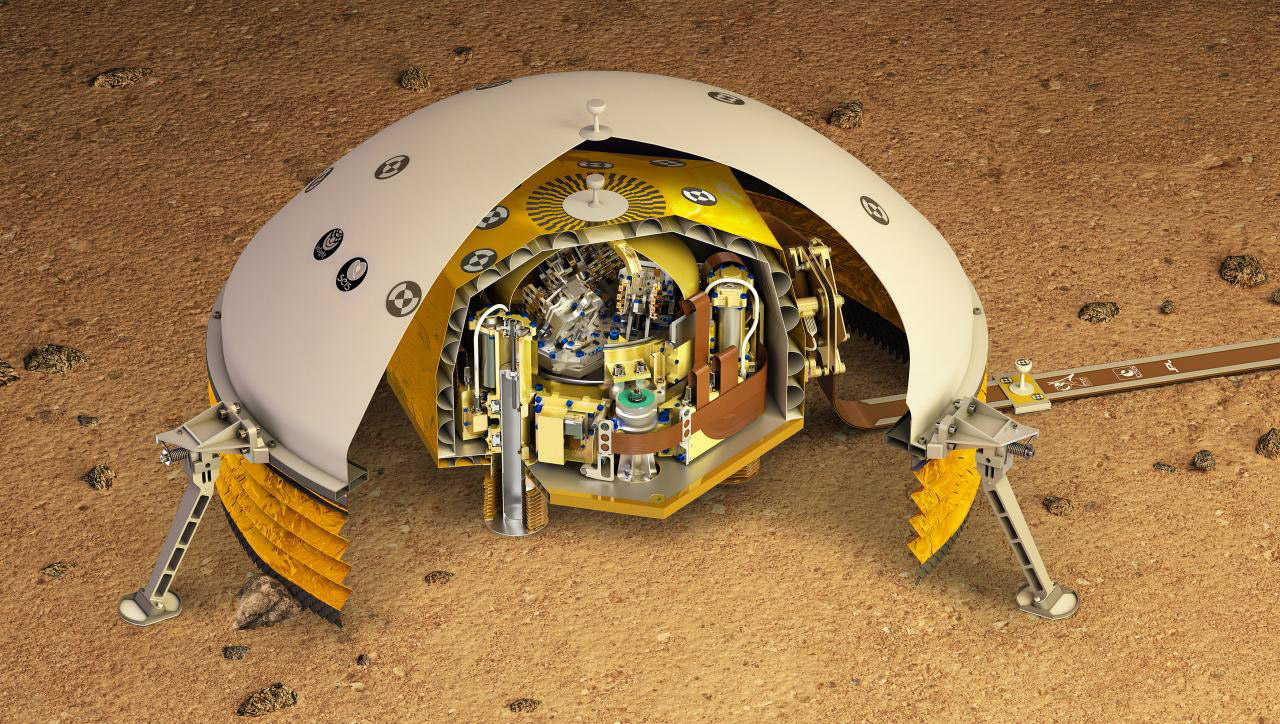 This artist's rendering shows a cutaway of the Seismic Experiment for Interior Structure instrument, or SEIS, which will fly as part of NASA's Mars InSight lander. SEIS is a highly sensitive seismometer that will be used to detect marsquakes from the Red Planet's surface for the first time.