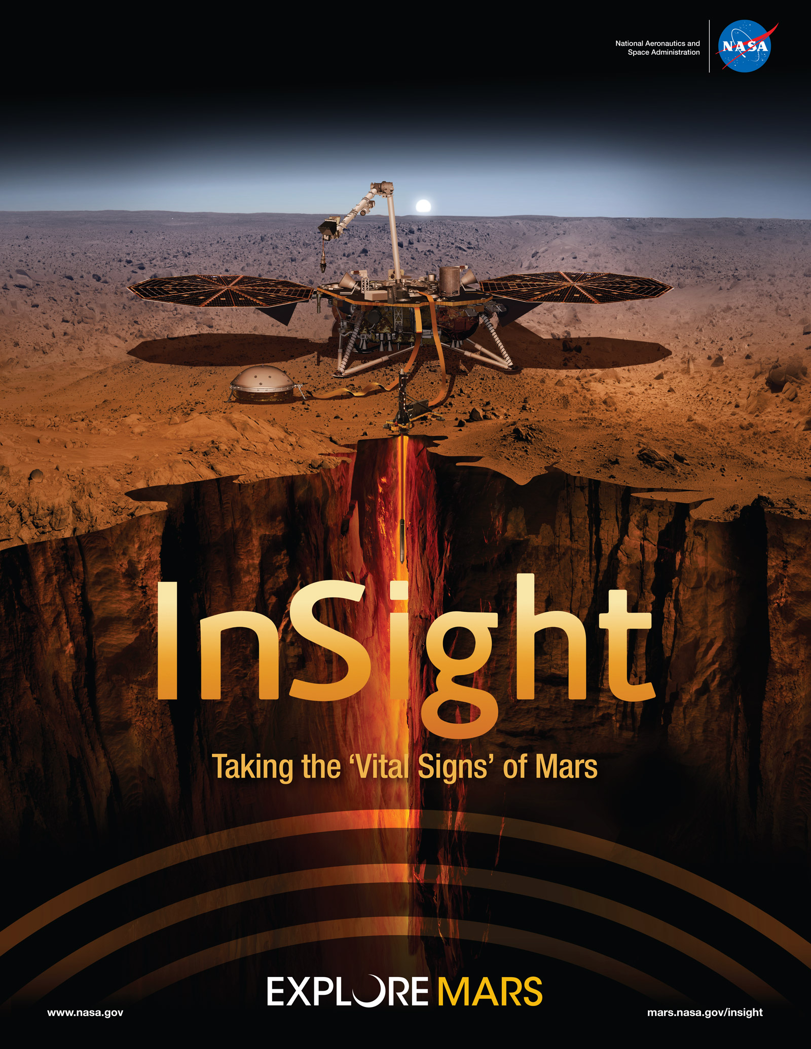 InSight poster showing spacecraft drilling into Mars