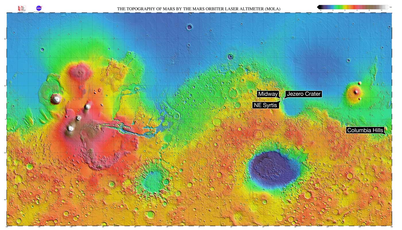 This Mars map depicts the final four locations under consideration for the landing site of Mars 2020.