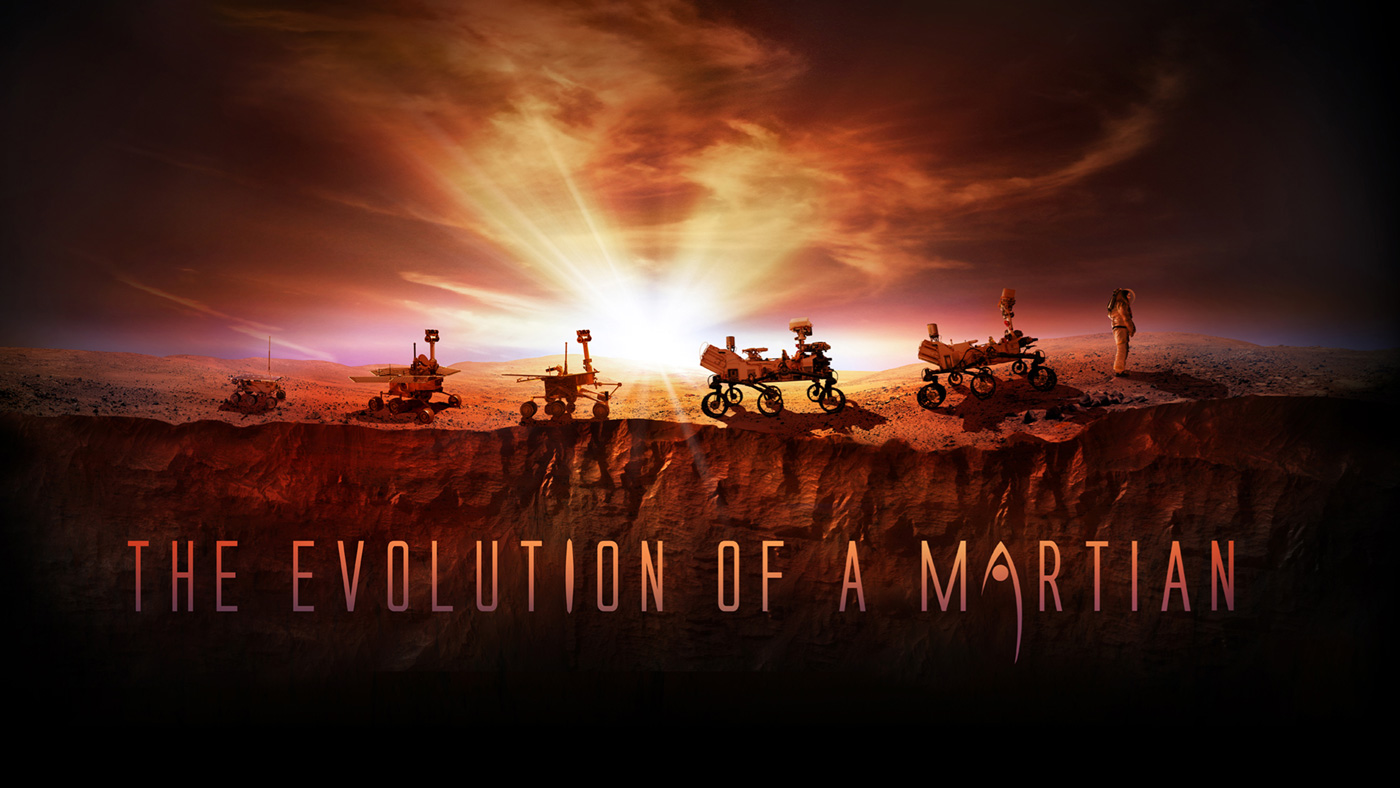 This artist's illustration shows NASA's four successful Mars rovers (from left to right): Sojourner, Spirit and Opportunity, and Curiosity. The image also shows the upcoming Mars 2020 rover and a human explorer.