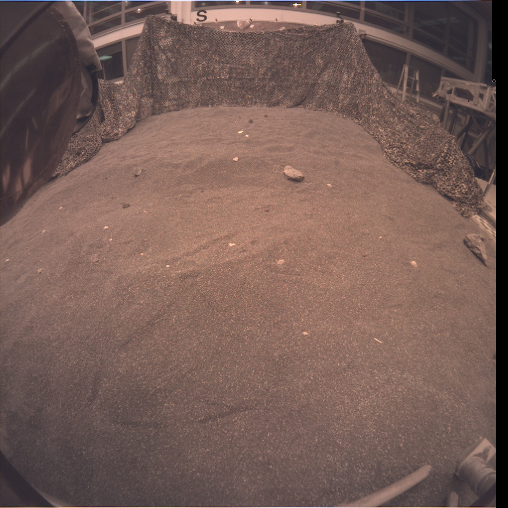 This is an image taken by an engineering model of NASA's InSight lander during a rehearsal for instrument deployment in a Mars-like testbed at NASA's Jet Propulsion Laboratory, Pasadena, California.