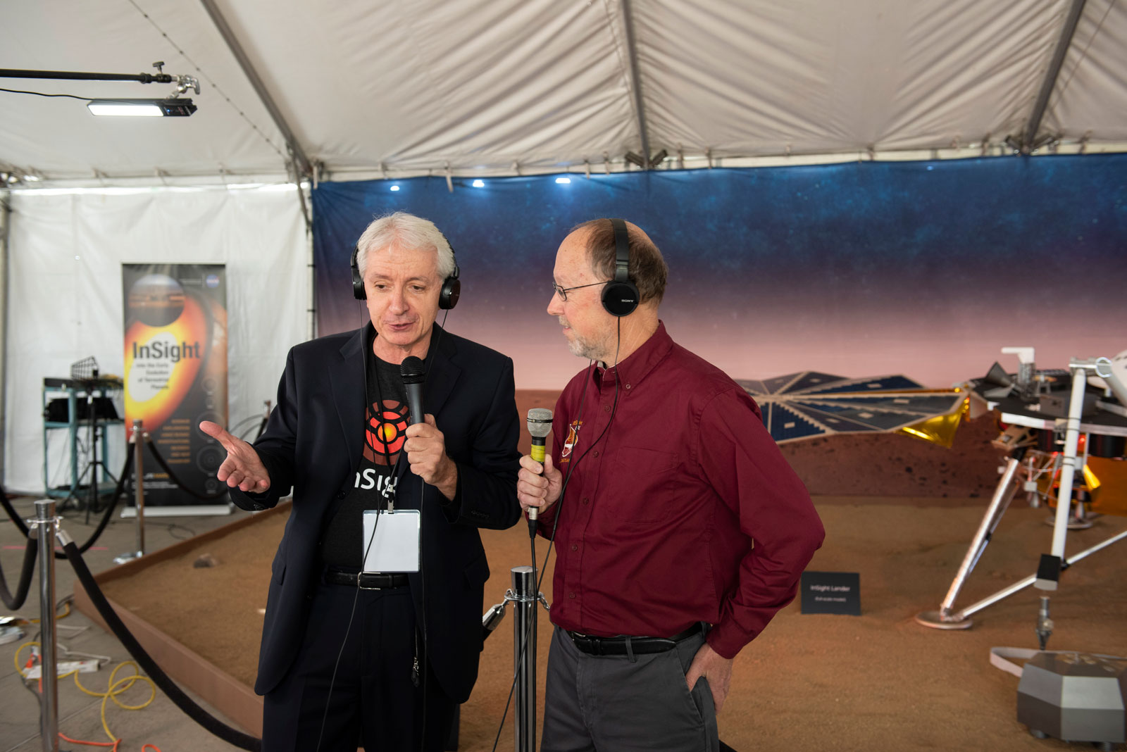 Bruce Banerdt talks to a member of the media on Nov. 26, 2018, in advance of InSight's landing on Mars.