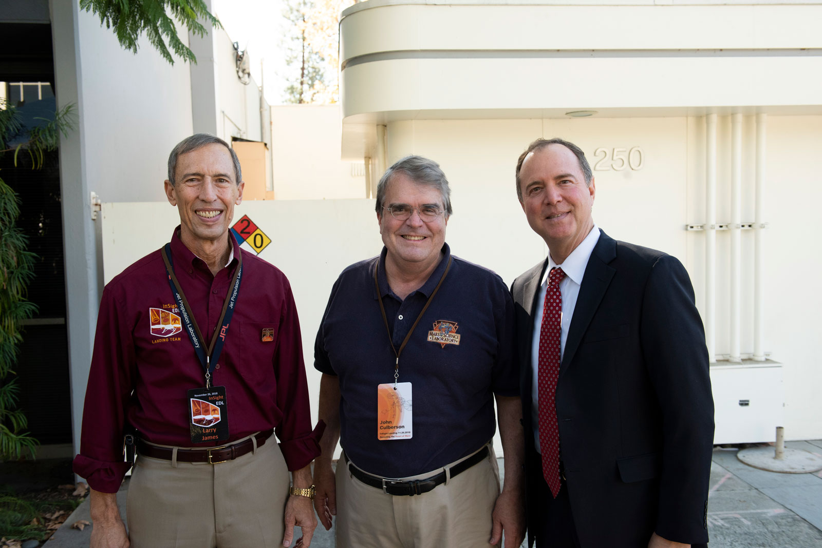 JPL Deputy Director Larry D. James, U.S. Rep. Culberson and U.S. Rep. Schiff at NASA's Jet Propulsion Laboratory for InSight's Mars landing, on Nov. 26, 2018.