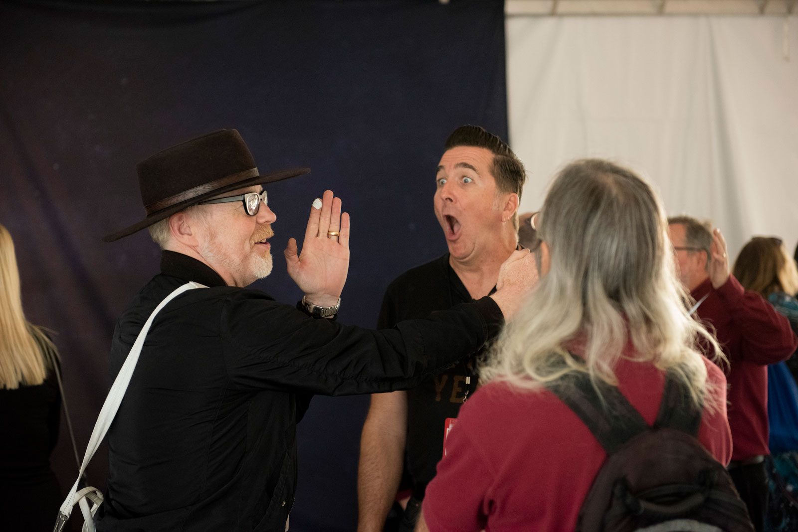 Mythbuster Adam Savage and Engineer Adam Steltzner at NASA's Jet Propulsion Laboratory on Nov. 26, 2018, for the landing of InSight on Mars.