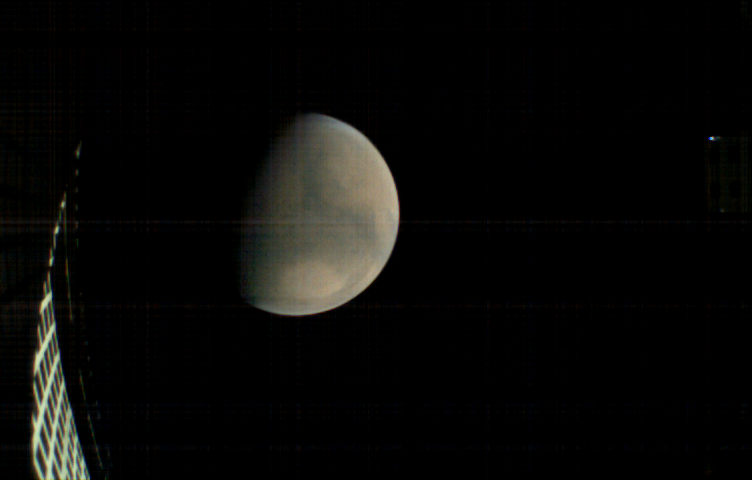 MarCO-B, one of the experimental Mars Cube One (MarCO) CubeSats, took this image of Mars from about 11,300 miles (18,200 kilometers) away shortly before NASA's InSight spacecraft landed on Mars on Nov. 26, 2018.