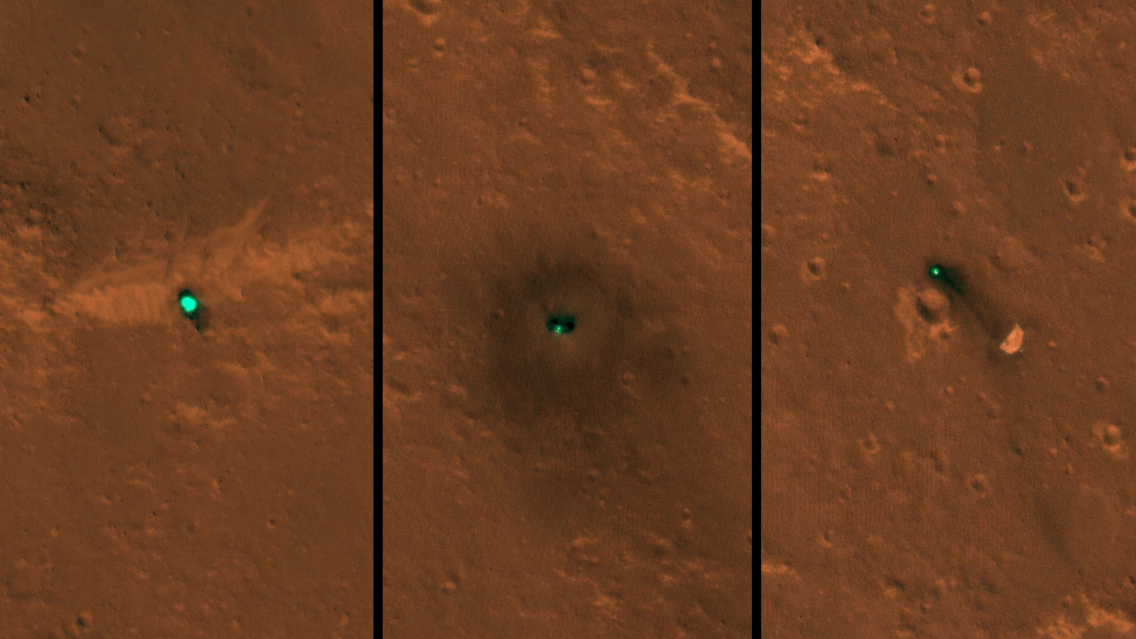 NASA's InSight spacecraft, its head shield and its parachute were imaged on Dec. 6 and 11 by the HiRISE camera onboard NASA's Mars Reconnaissance Orbiter.