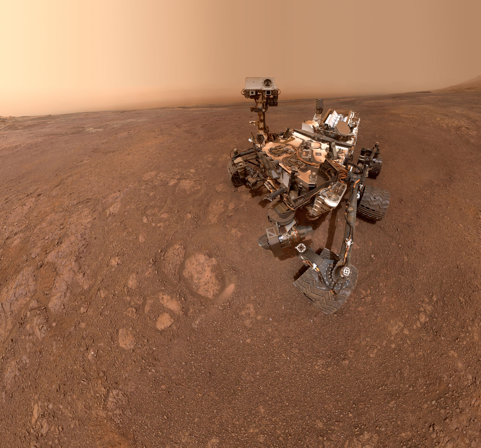 "A selfie taken by NASA's Curiosity Mars rover on Sol 2291 (January 15) at the ""Rock Hall"" drill site, located on Vera Rubin Ridge."