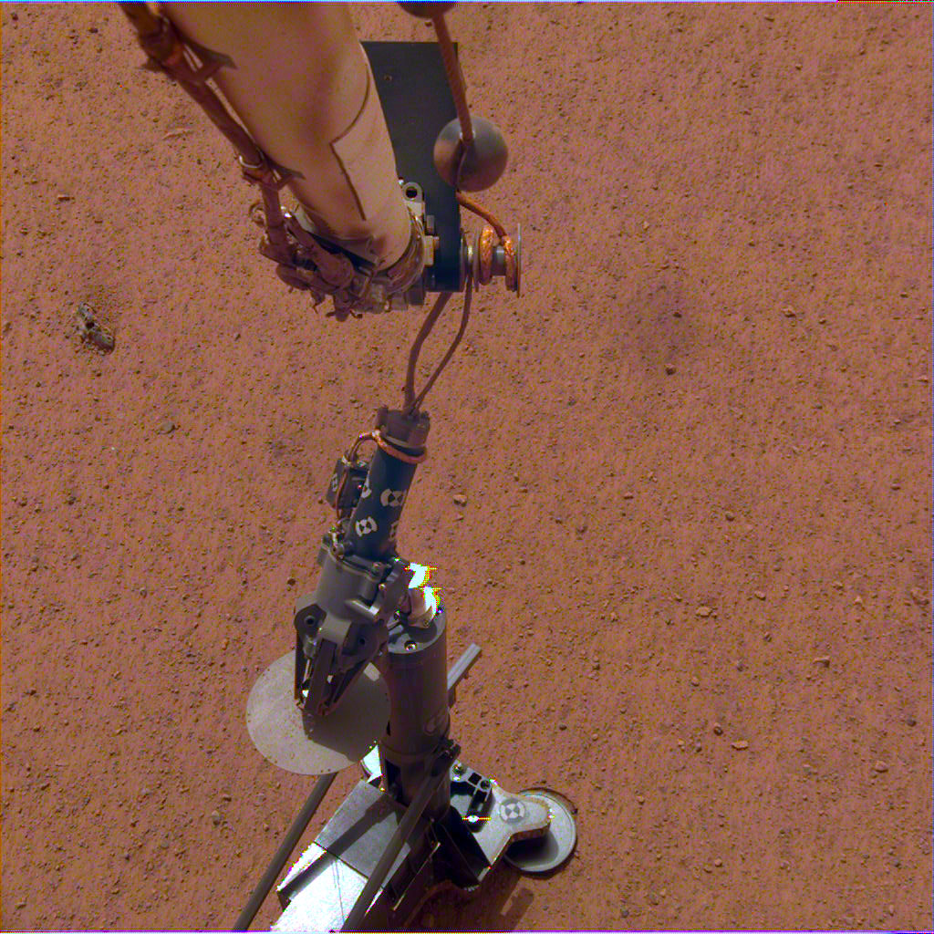 NASA's InSight lander set its heat probe, called the Heat and Physical Properties Package (HP3), on the Martian surface on Feb. 12.