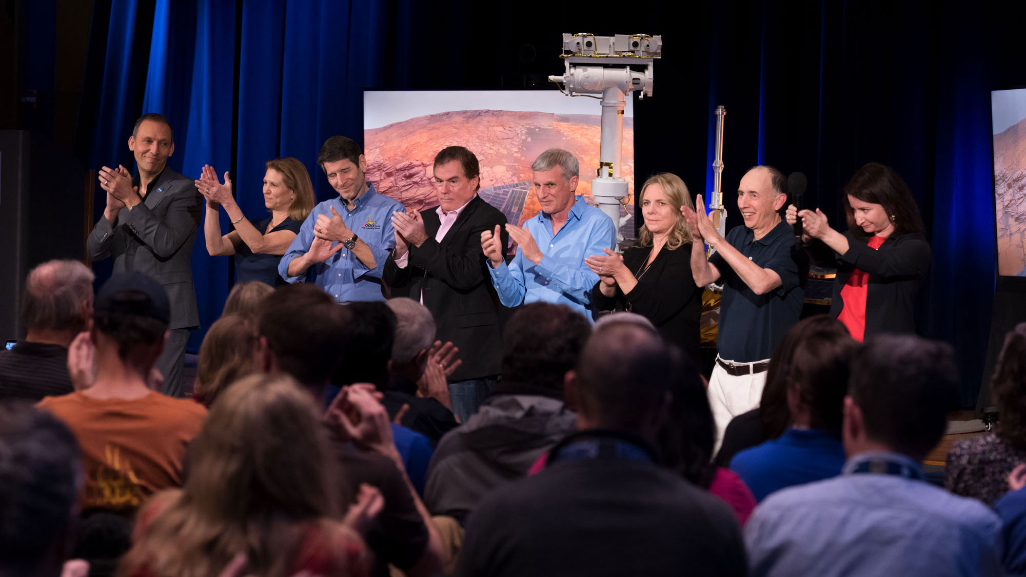 A round of applause at NASA's Jet Propulsion Laboratory in Pasadena, California, for a successful end to the mission of NASA's Opportunity Mars rover on Feb. 13, 2019.