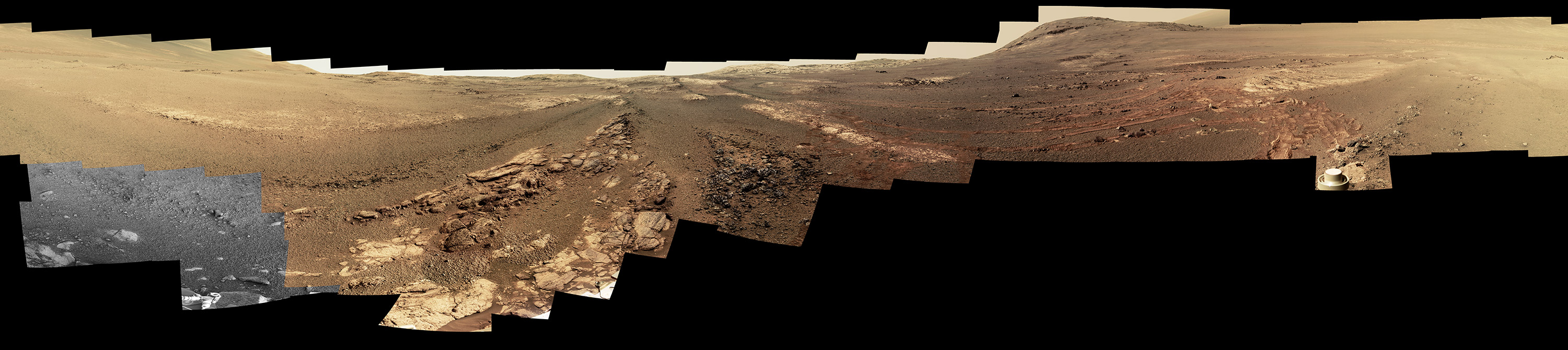 This image is an edited version of the last 360-degree panorama taken by the Opportunity rover's Pancam from May 13 through June 10, 2018. The version of the scene is presented in approximate true color.