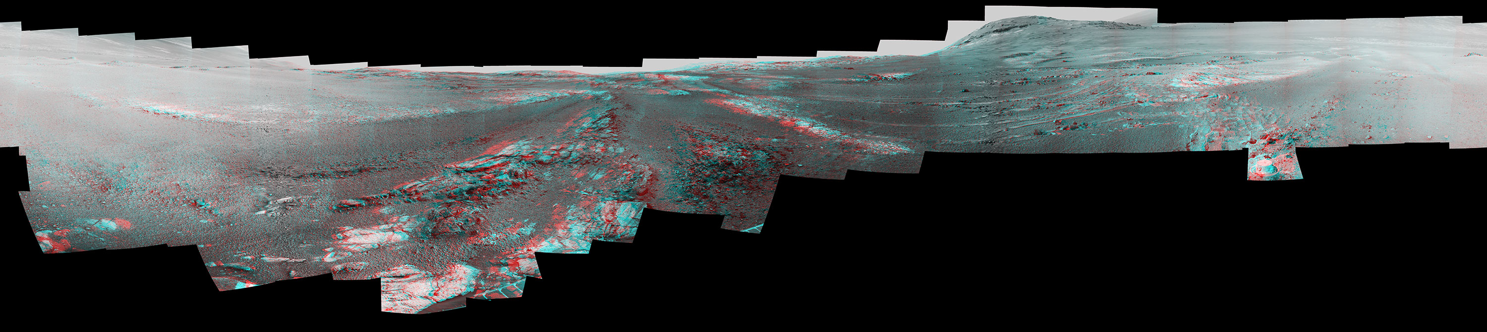 This image is a cropped version of the last 360-degree panorama taken by the Opportunity rover's Pancam from May 13 through June 10, 2018. The panorama appears in 3D when seen through blue-red glasses with the red lens on the left.