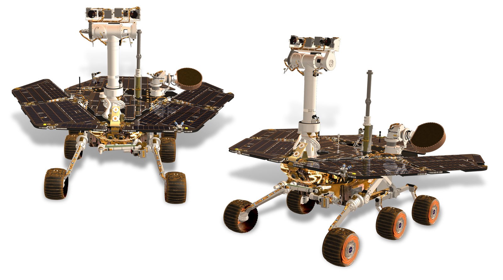 This artist's rendering depicts NASA's Mars Exploration Rovers, Spirit and Opportunity. The twin rovers were launched in 2003 and arrived on Mars in January 2004.