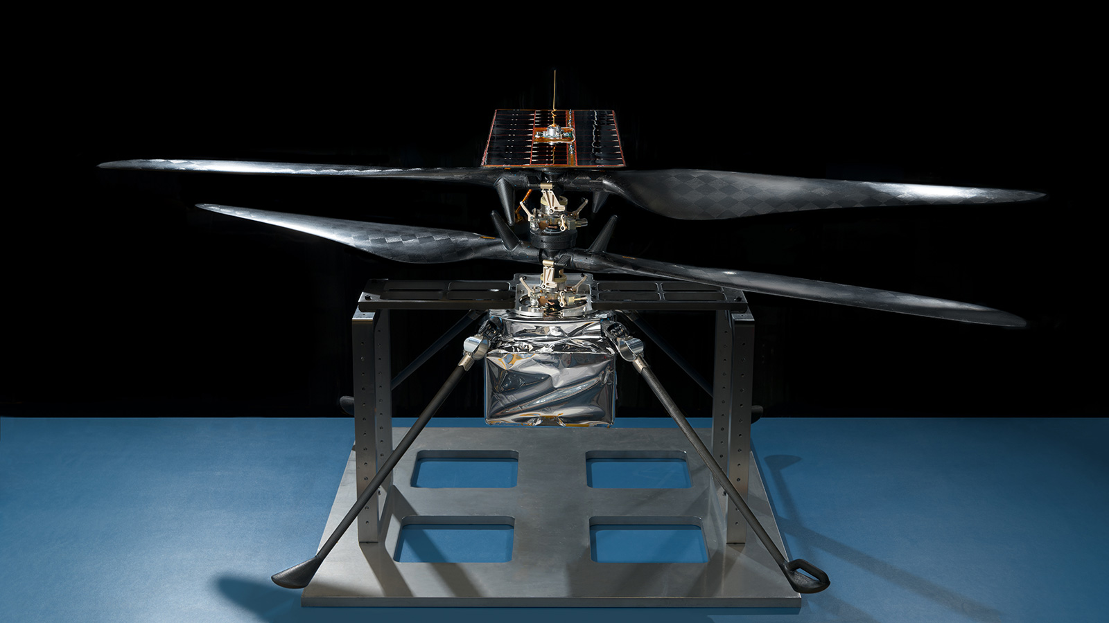 An image of the flight model of NASA's Mars Helicopter.