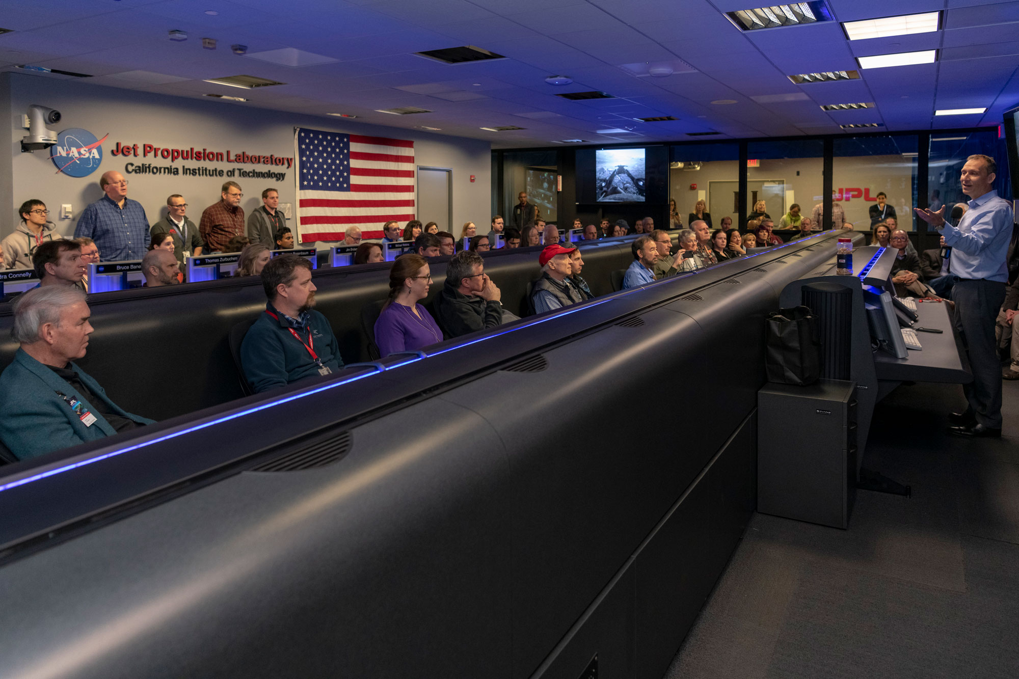 NASA Associate Administrator for Science Thomas Zurbuchen addressed the Opportunity rover team inside Mission Control at NASA's Jet Propulsion Laboratory in Pasadena, California, a few hours before the team made its last attempts to listen for the rover's signal from Mars. The image was taken on Feb. 12, 2019.