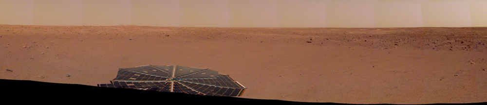 InSight captured this panorama of its landing site on the 14th Martian day, or sol, of its mission.