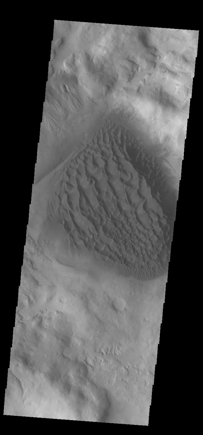 This image from NASAs Mars Odyssey shows the floor of Matara Crater.