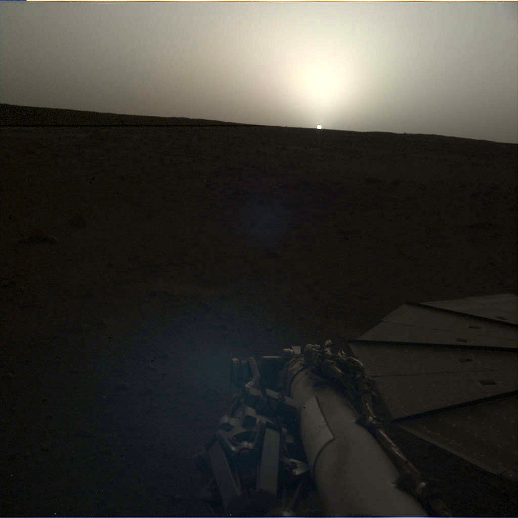 Image of Mars sunset taken by InSight's camera at the end of its robotic arm.