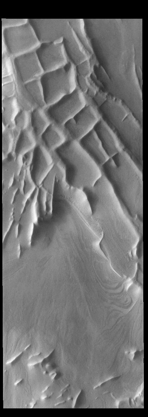 This image from NASAs Mars Odyssey shows Angustus Labyrinthus. The squares formed by intersecting ridges have given the feature the informal name of Inca City.
