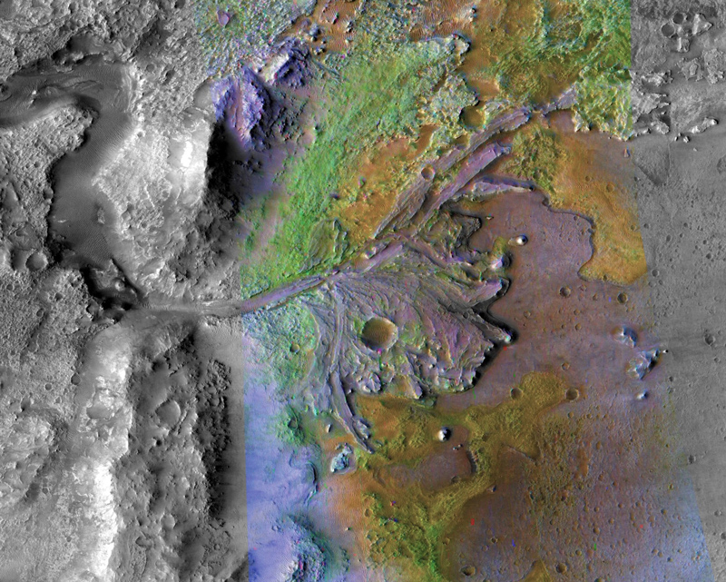 This image is of Jezero Crater on Mars, the landing site for NASA's Mars 2020 mission. It was taken by instruments on NASA's Mars Reconnaissance Orbiter (MRO), which regularly takes images of potential landing sites for future missions.