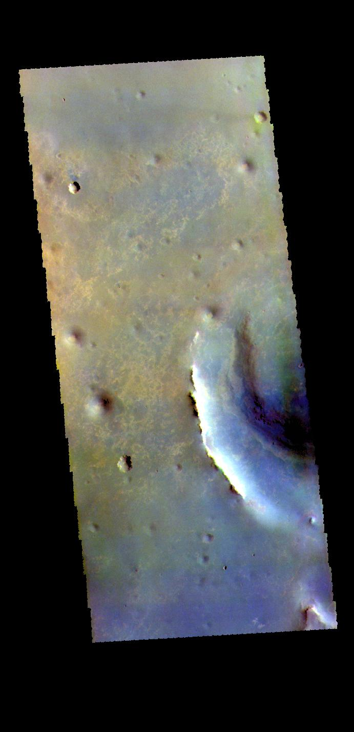 This image from NASAs Mars Odyssey shows part of Endeavour Crater in Meridiani Planum.