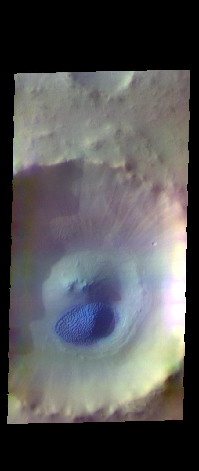 This image from NASAs Mars Odyssey shows an unnamed crater in Acidalia Planitia.