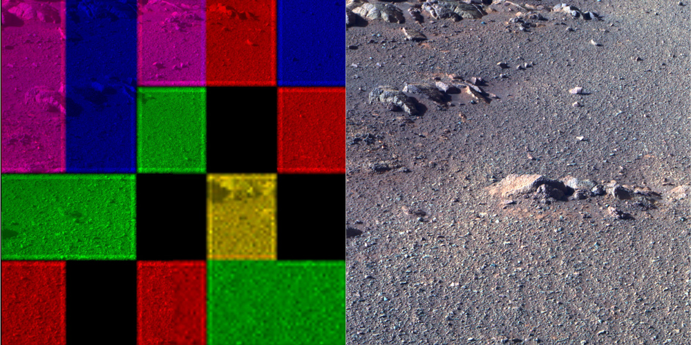 These side-by-side images were taken by the Pan Camera on the Opportunity rover. They're actually the same image; the left version is how the image originally came down, due to data dropouts. The right shows the same image after processing all the data.