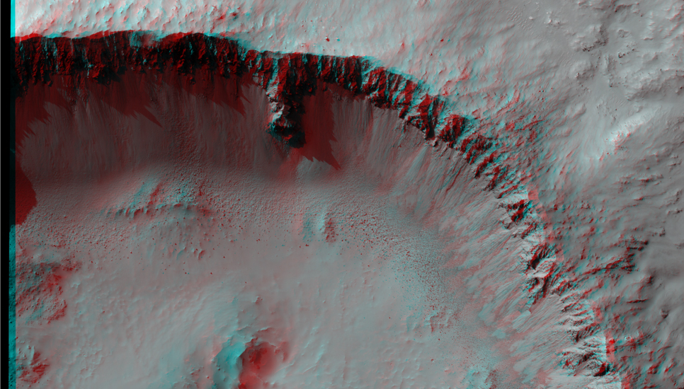 Shown here is a stereo pair (see the anaglyph) of a well-preserved impact crater