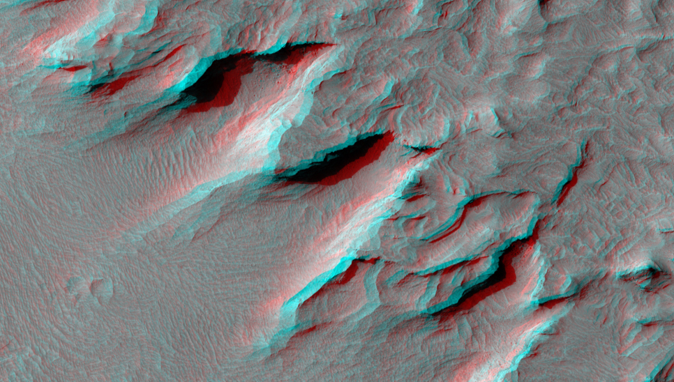 This image shows a portion of the central mound in the impact crater Gale