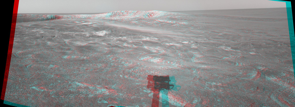 This three-dimensional anaglyph stereo view was created from navigation camera frames that NASA's Mars Exploration Rover Opportunity