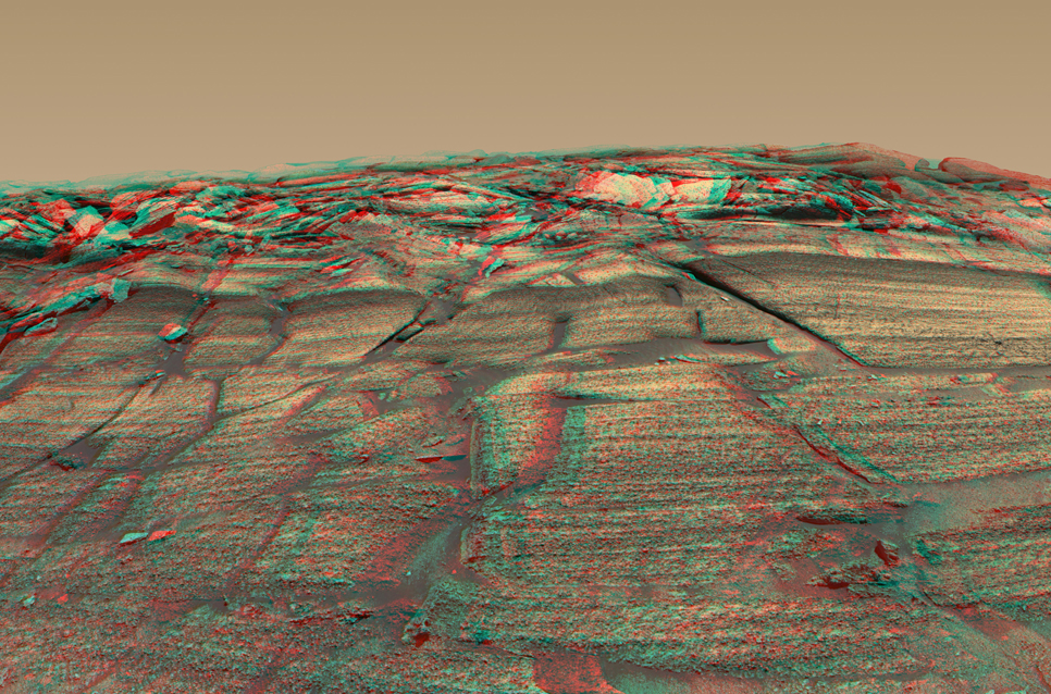 "The panoramic camera on NASA's Mars Exploration Rover Opportunity captured a sweeping image of ""Burns Cliff""."
