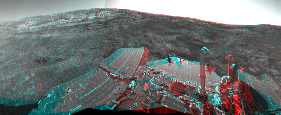 This 360-degree stereo anaglyph of the terrain surrounding NASA's Mars Exploration Rover Opportunity.