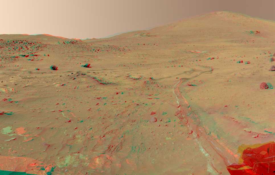 "This 360-degree view, called the ""McMurdo"" panorama, comes from the panoramic camera (Pancam) on NASA's Mars Exploration Rover Spirit."